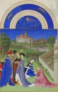 Monat April  mit Sternzeichen aus dem Stundenbuch des Herzogs von Berry