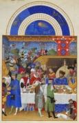 Monat Jänner  mit Sternzeichen aus dem Stundenbuch des Herzogs von Berry