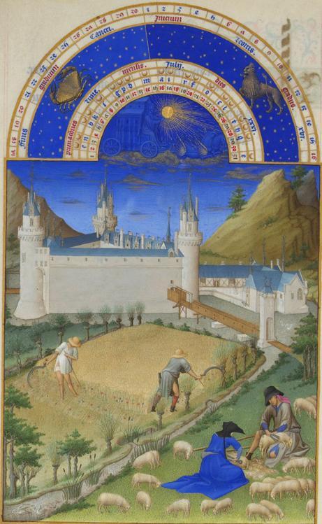 Monat Juli  mit Sternzeichen aus dem Stundenbuch des Herzogs von Berry